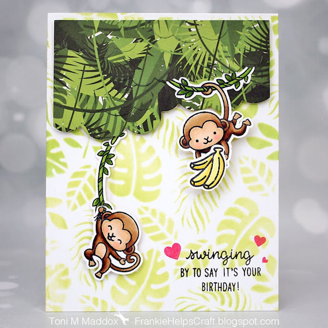 Sunny Studio Stamps: Love Monkey Customer Card by Toni Maddox