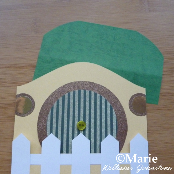 Adding a grassy roof to the Hobbit home DIY greeting card