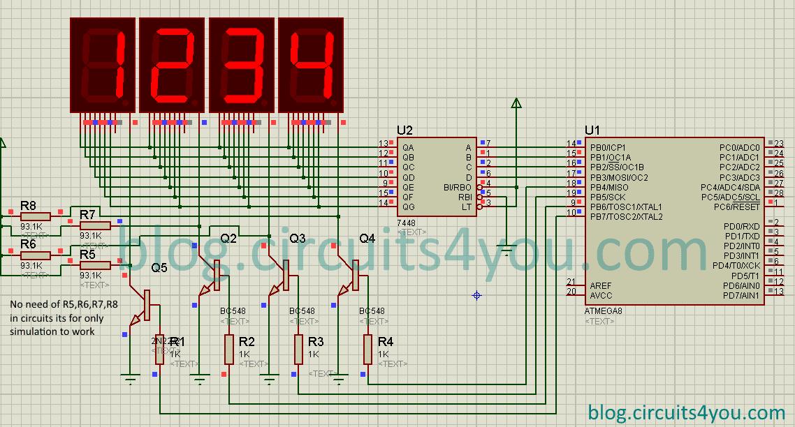 digits segment display interfacing avr microcontroller 7 segment display interfacing circuit diagram
