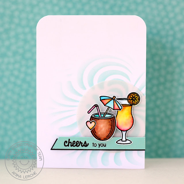 Sunny Studio Stamps: Tropical Paradise Fruity Umbrella Drink Cheers Card by Anni Lerche.