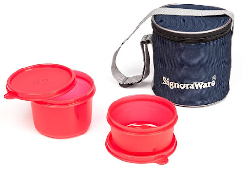 Signoraware Executive Small Lunch Box with Bag, 15cm, Deep Red