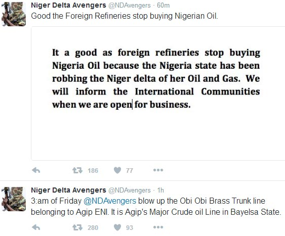 Niger Delta Avengers bomb Agip pipeline, warn foreigners to stop buying Nigerian crude oil