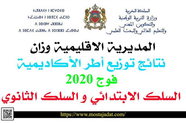 المديرية الاقليمية وزان: نتائج توزيع أطر الأكاديمية فوج 2020 - السلك الابتدائي و السلك الثانوي