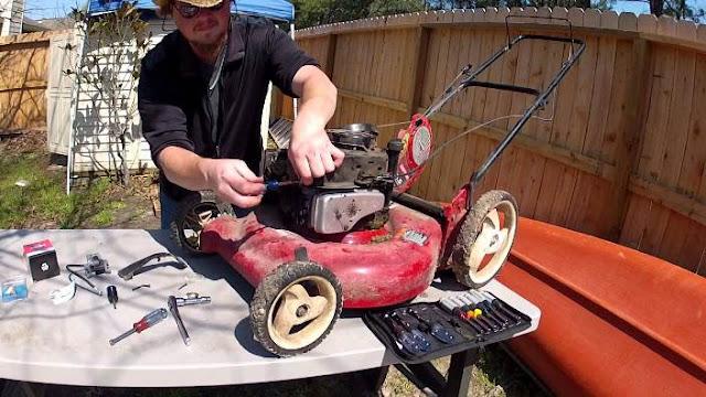 cara memperbaiki mesin potong rumput