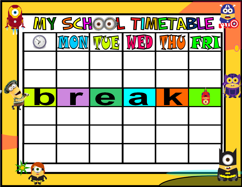 School Subjects Game on Blank Vocabulary Worksheet Template