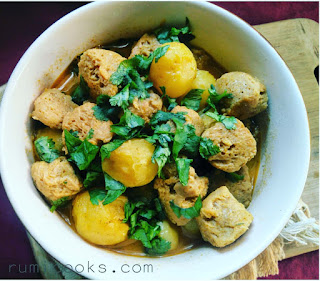 Baby potatoes and soya chunks curry