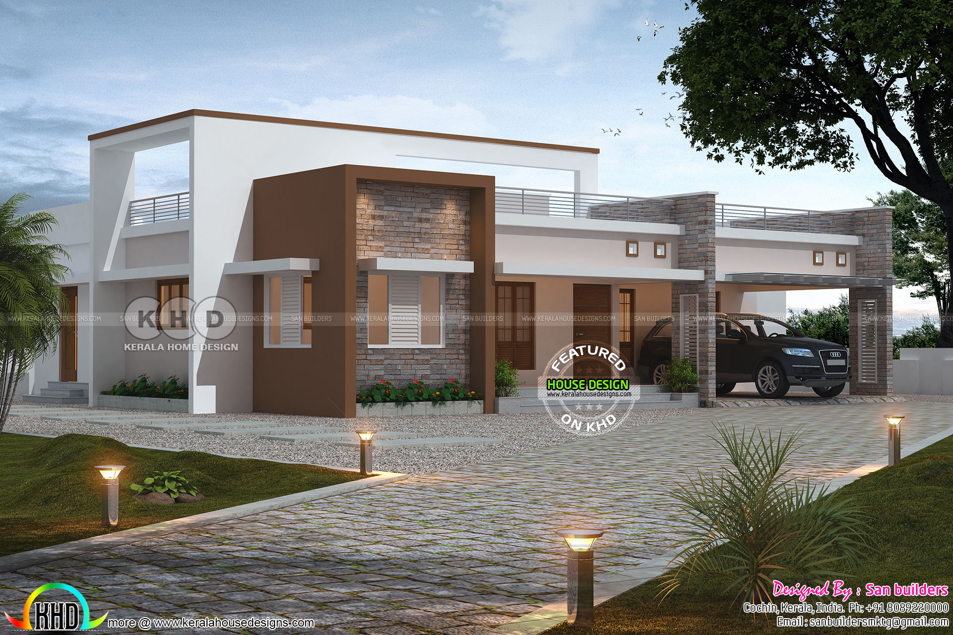 3 Bedroom Single Floor Flat Roof Home 2424 Square Feet Kerala Home Design And Floor Plans 8000 Houses