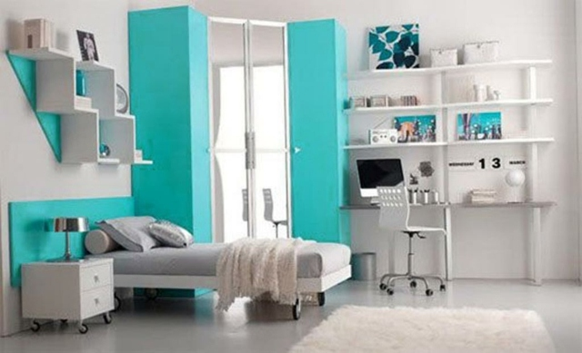 green and white adolescent room