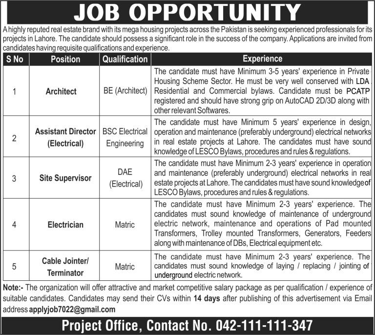 Public Sector Organization Lahore Jobs 2021 – Real Estate Brand Jobs