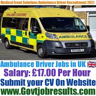 Medical Event Solutions Ambulance Driver Recruitment 2021-22