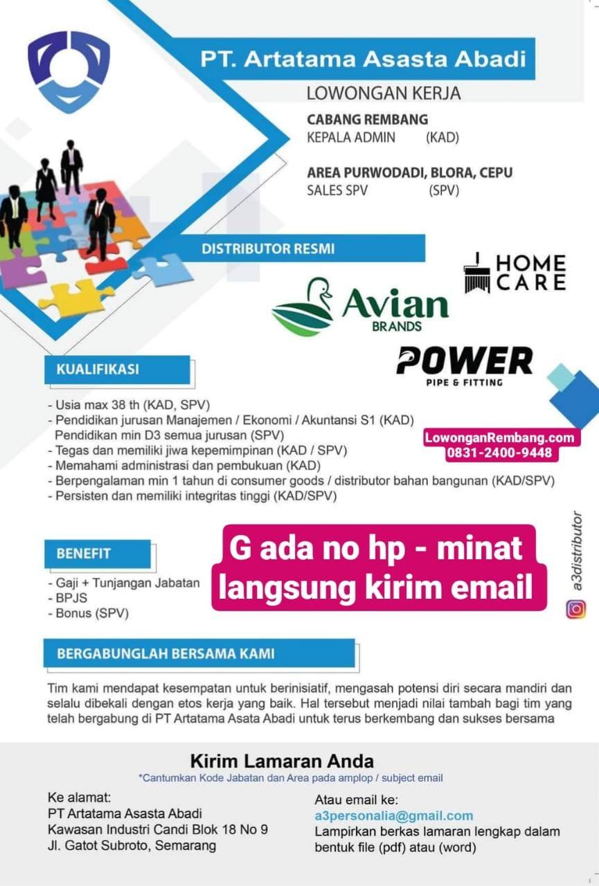 PT Artatama Asasta Abadi Buka Lowongan Kerja Posisi Kepala Admin Dan Sales SPV Area Rembang, Blora, Dan Cepu