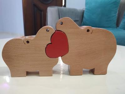 DIY rhino wooden puzzle