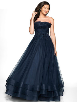 Strapless A line Tulle Flair Prom Navy Dress