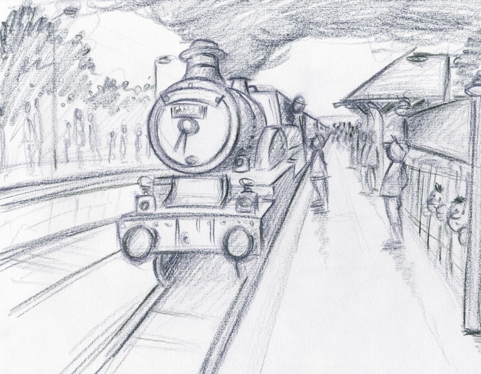 Рисунок железной дороги с поездом детский