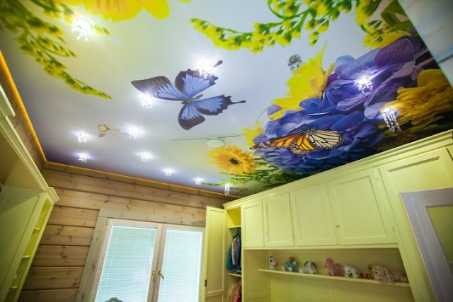stunning stretch ceiling for kid's room butterfly design