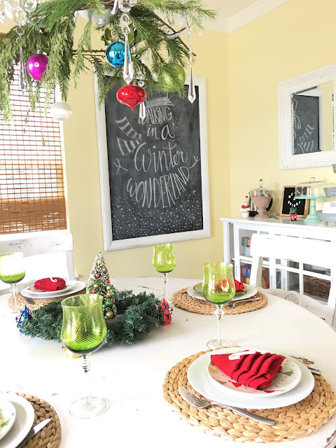 Winter wonderland tablescape, bright colors for Christmas, Lime Green and red for Christmas, Christmas breakfast,  The style sisters tablescape