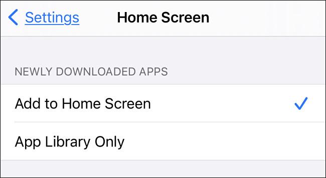 """قائمة """"الشاشة الرئيسية"""" في iOS 14."""