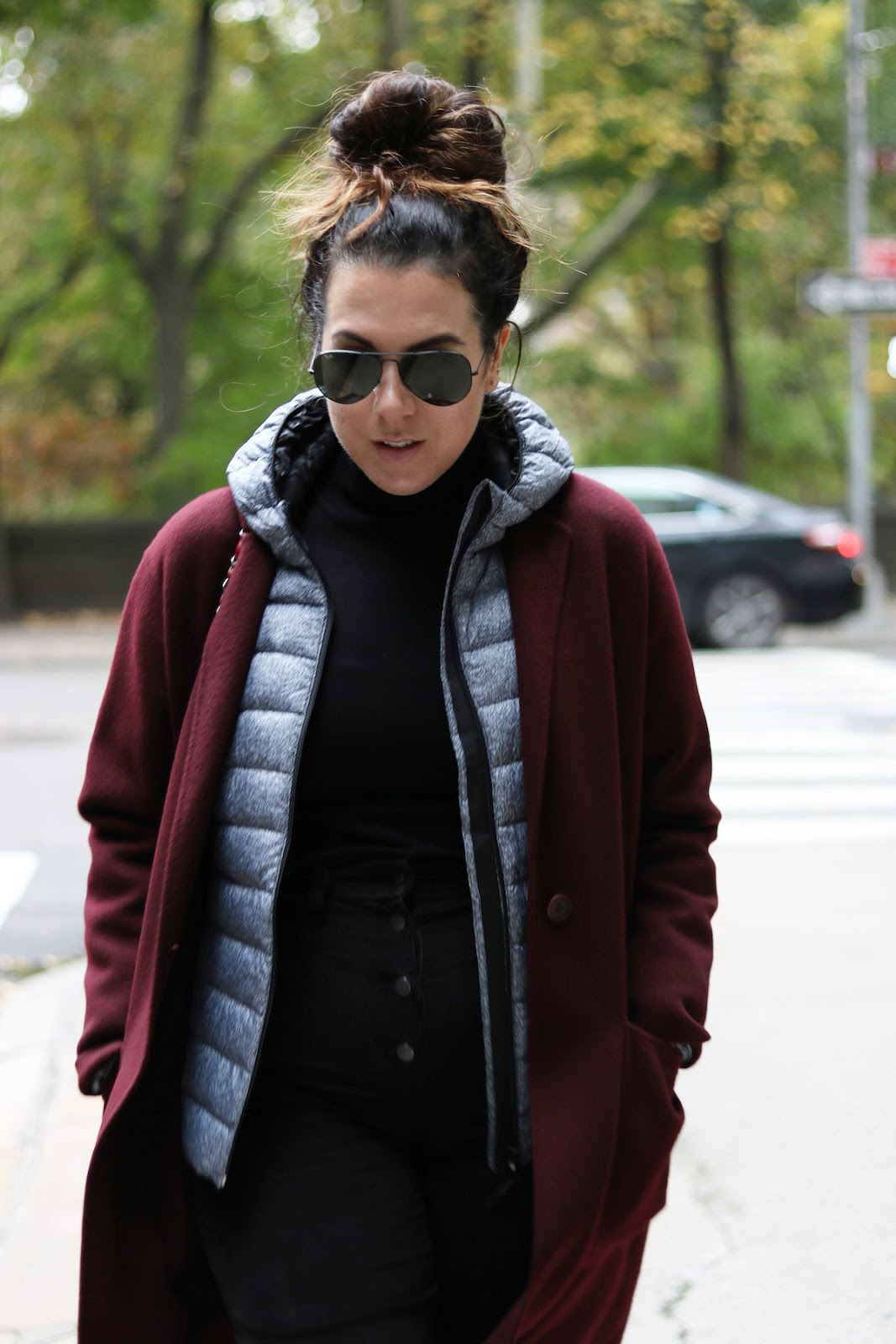 Roots Down Packable Jacket outfit fashion blogger weekend layered outfit theory cashmere burgundy wool jacket
