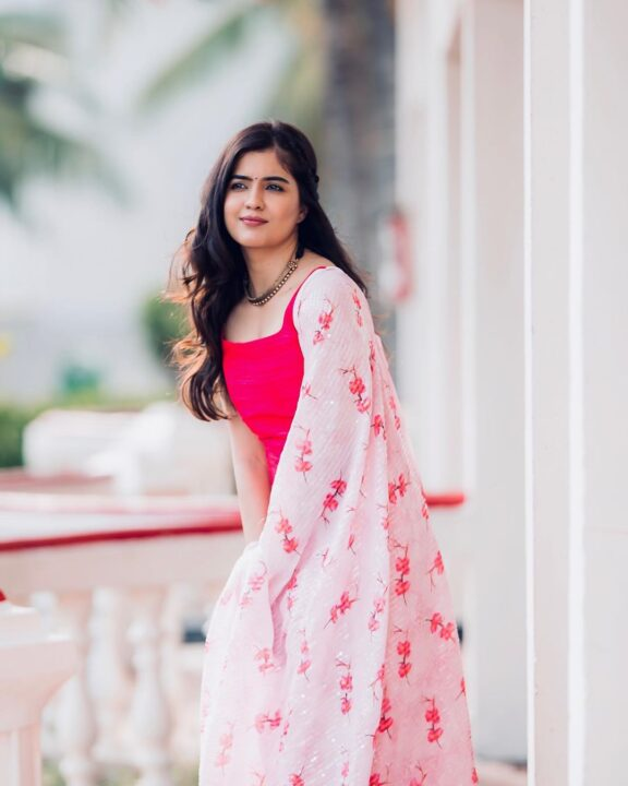 Amritha Aiyer in Pink Dress Photos