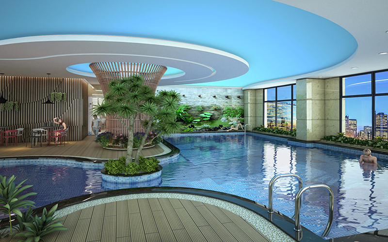 Phối cảnh bể bơi 5 sao tại Housinco Premium