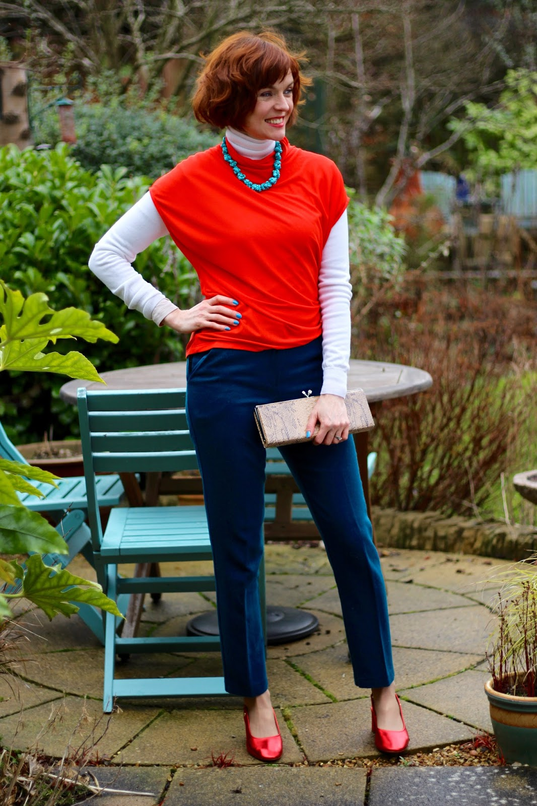 Metallic Red Slingback Nana Shoes & Teal Wool Trousers |Fake Fabulous