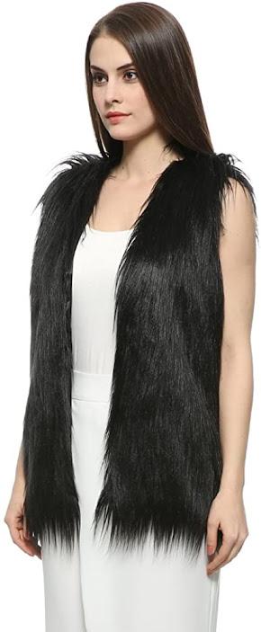 Cheap Black Faux Fur Vests for Women