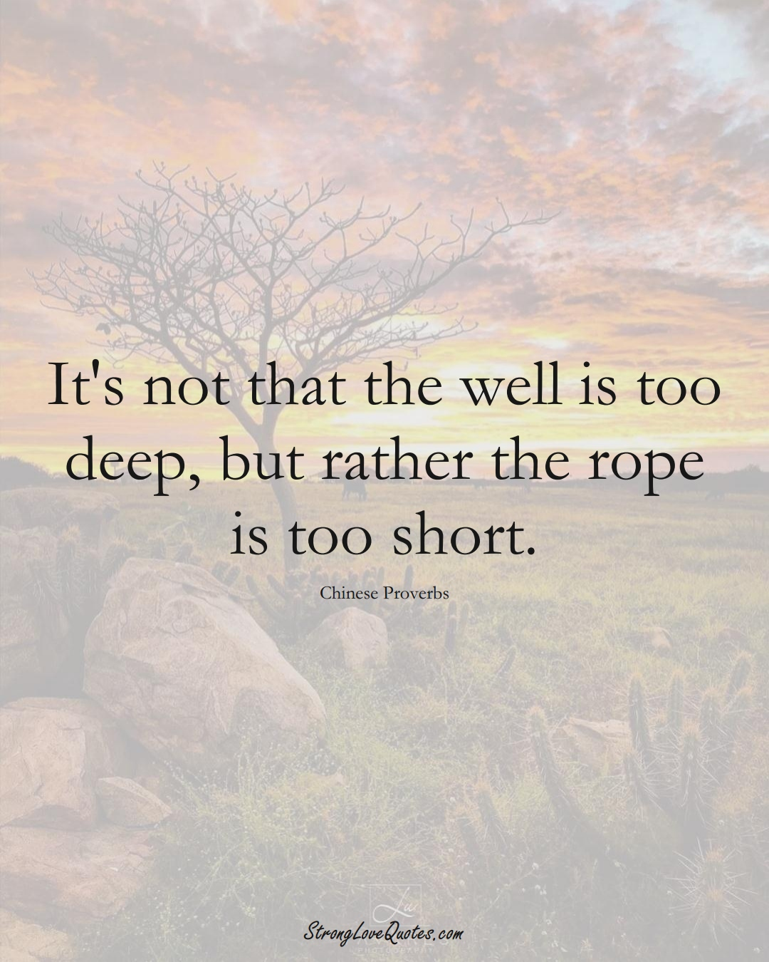 It's not that the well is too deep, but rather the rope is too short. (Chinese Sayings);  #AsianSayings