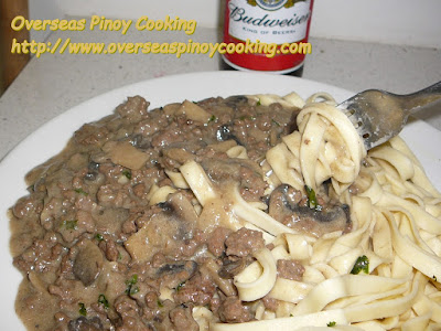 Pinoy Ground Beef Stroganoff over Egg Noodles