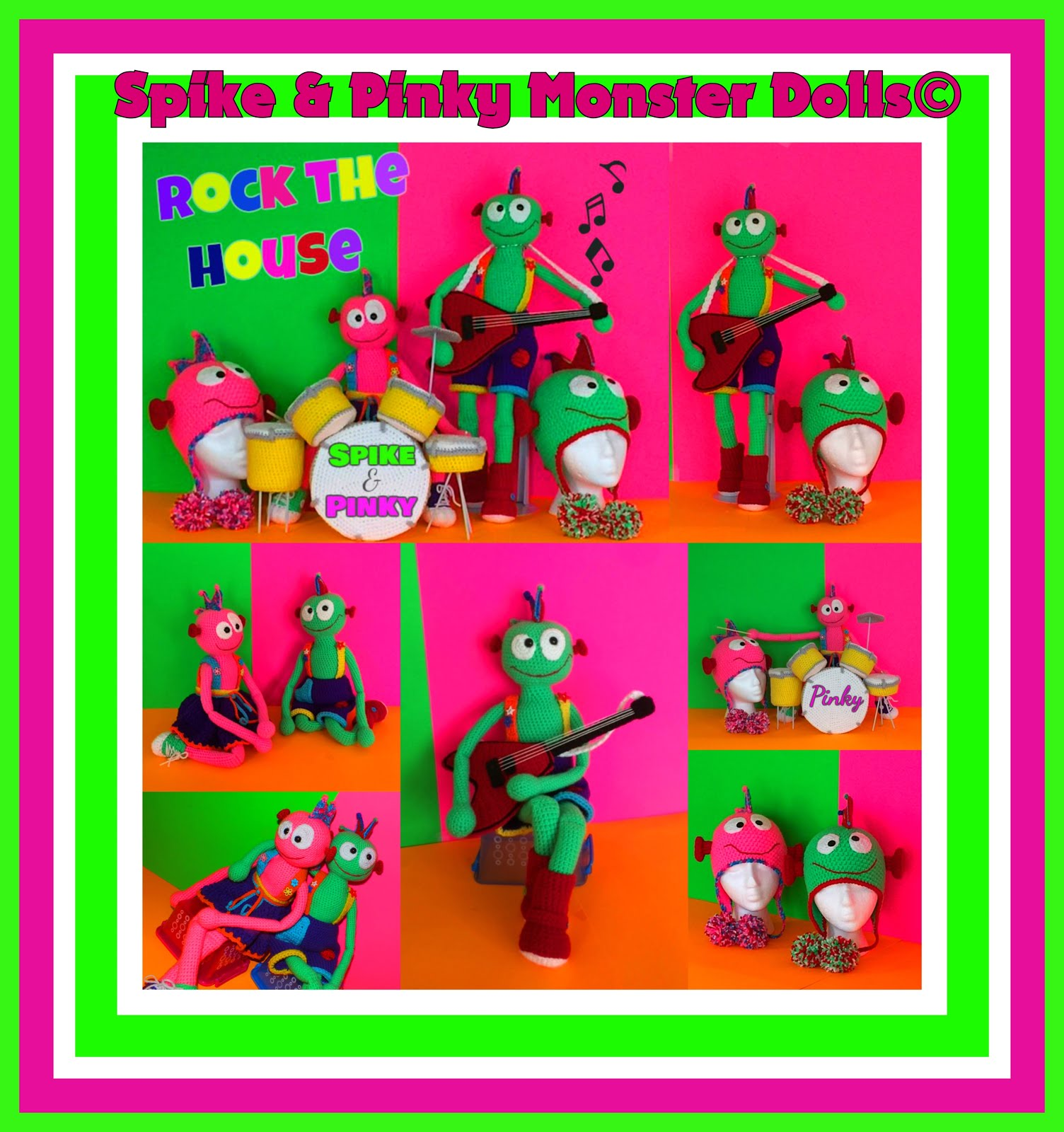 Spike & Pinky© Monster Rock Band Doll Pattern© + Matching Hats Pattern By Connie Hughes Designs©