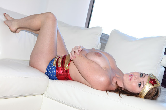 Sophie Dee sexy wonder woman naked boobs lying