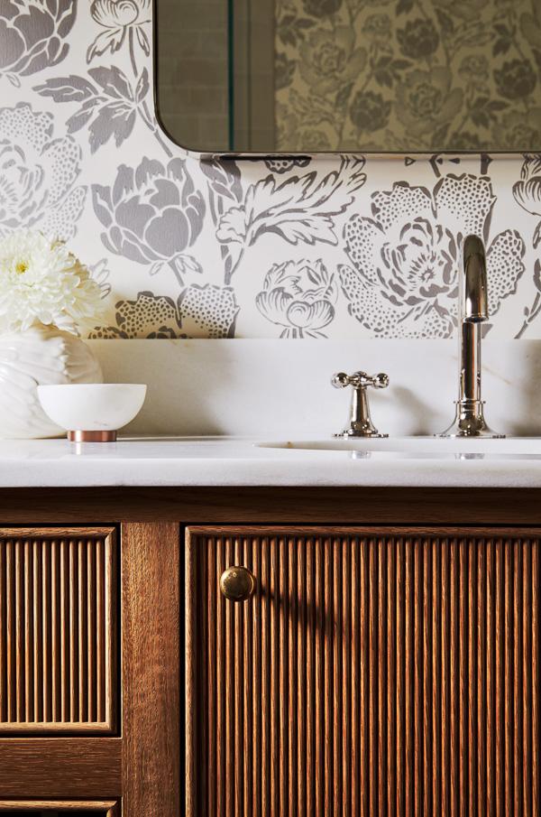 Reeded bathroom vanity by Katie Rosenfeld