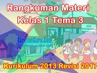 Rangkuman Materi Tema 3 Kelas 1 Kurikulum 2013 dan Contoh Soal