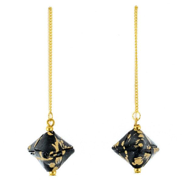 pair of washi paper origami threader earrings with delicate gold chains