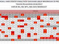 Kalender Pendidikan TK/RA, SD/MADRASAH dan Sederajat Tahun Pelajaran 2016/2017