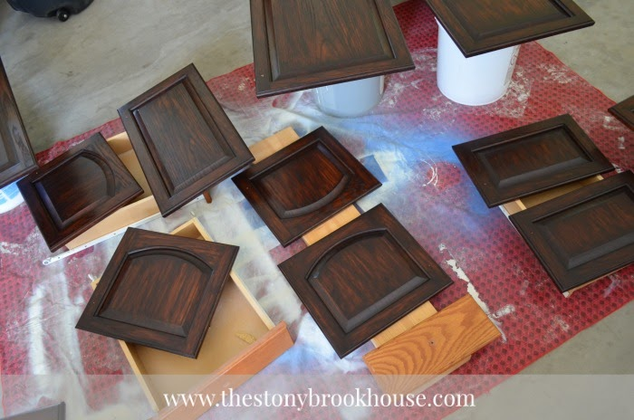 3rd coat of General Finishes Java Gel Stain on cabinet doors