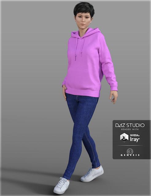 Hoodie Skinny Jeans Outfit for Genesis 3 Female