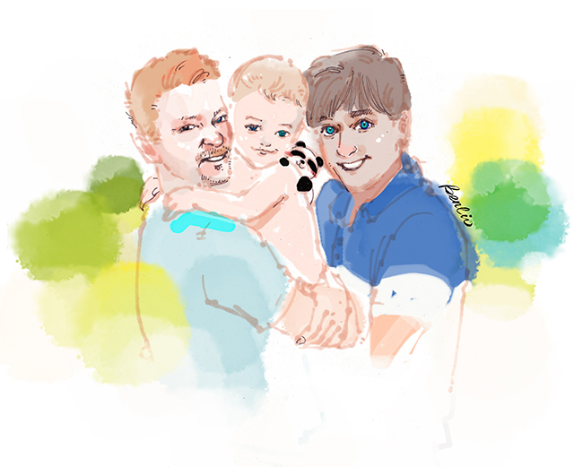gay parents, two daddies, daddy and son, baby in parents' arms, fashion illustration, love is love, love wins, LGBTQ family, man in blue, pride