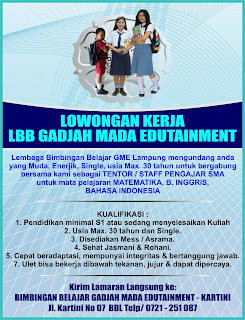 Lowongan Kerja Staff Pengajar SMA (GADJAH MADA EDUTAINMENT)