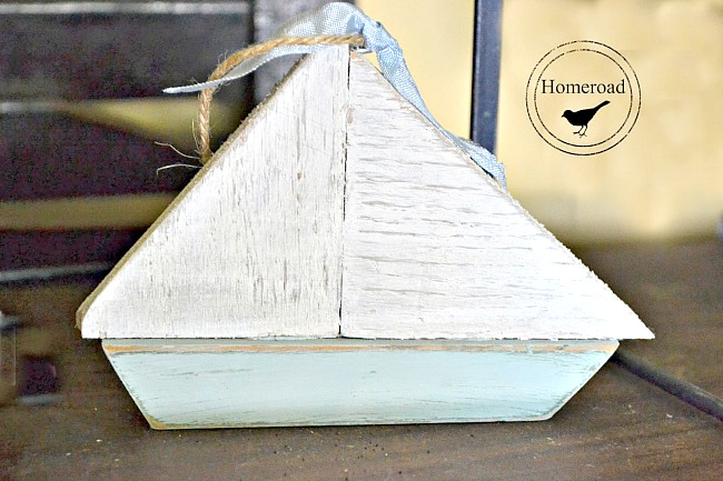 Wooden scrap sailboat ornaments