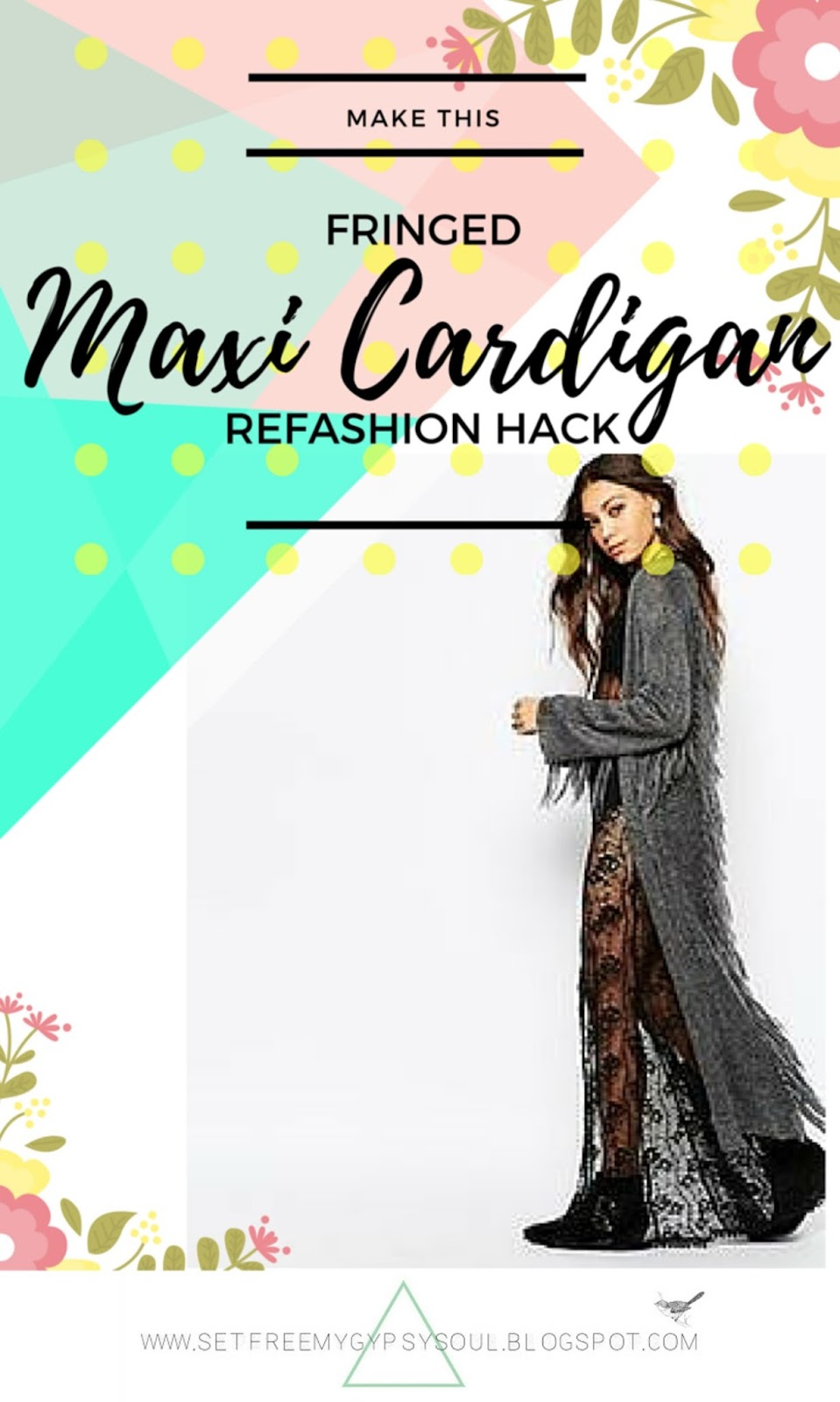 maxi fringed cardigan poncho festival fashion hack pattern diy