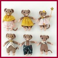 Familia de ratoncitos amigurumi