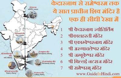 7 शिव मंदिर केदारनाथ से रामेश्वरम् तक जो सब एक ही कतार में हैं  ये सारे शिवलिंग सृष्टि का संतुलन बनाते हैं। Guide In Hindi