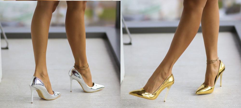 Pantofi eleganti lacuiti aurii, argintii la moda de unde caumpar