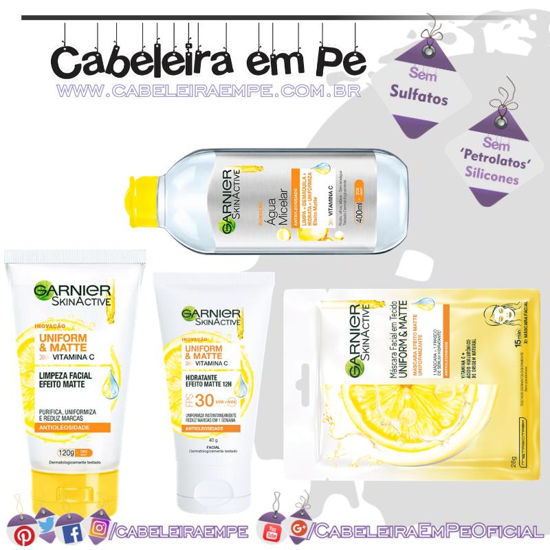 Gel de Limpeza, Hidratante, Água Micelar e Máscara em Tecido Skinactive Antioleosidade - Garnier