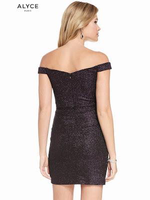 Off The Shoulder Alyce Paris Short Dress Black plum Bake Side