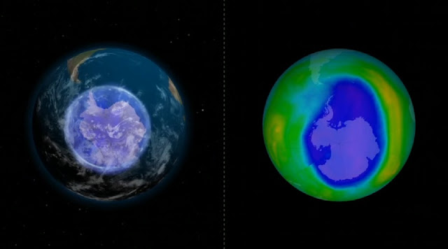 Foto keadaan lubang ozon di atas Antartika
