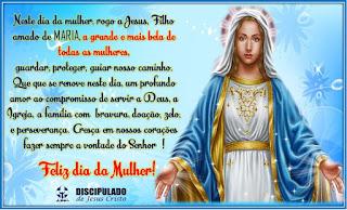 Mensagem em homenagem ao dia da mulher com imagem de Nossa Senhora das Graças