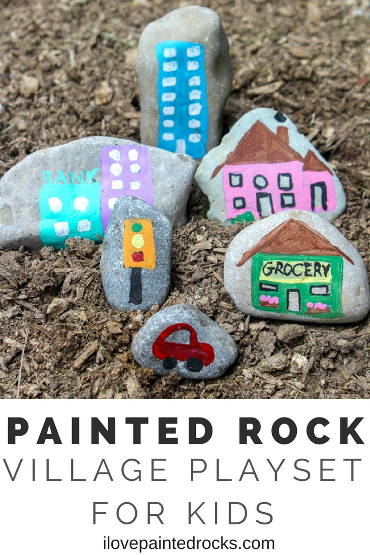 I love this rock painting tutorial! Make a cute painted rock village for kids or to add to your fairy garden. You could paint so many awesome things for the village from animals, to houses, store and more. Great ideas!