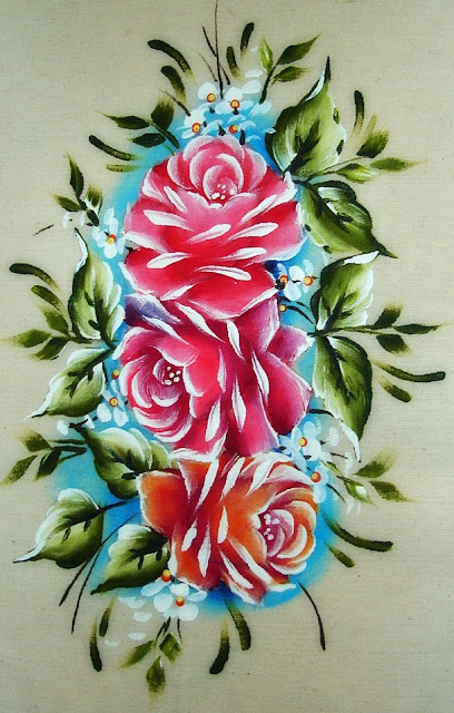 pintura em tecido rosas pintadas capa de caderno