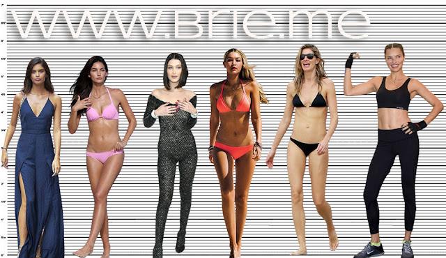 Sara Sampaio, Lily Aldridge, Bella Hadid, Gigi Hadid, Gisele Bündchen, and Adriana Lima height comparison